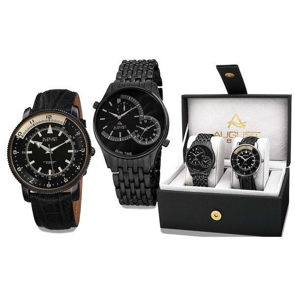 August Steiner Men's Swiss Quartz Multifunctional Alloy Bracelet & Leather Black Strap Watch Set