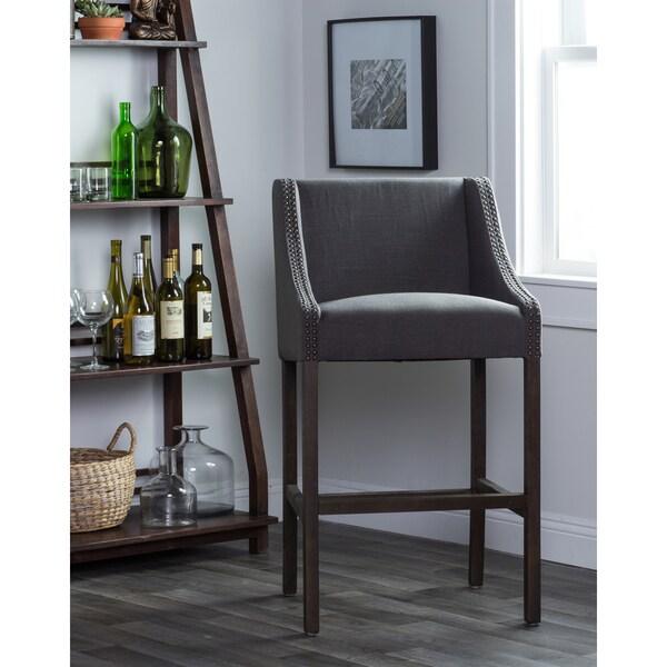 Kosas Home Upholstered Aoki Charcoal Linene Blend Barstool