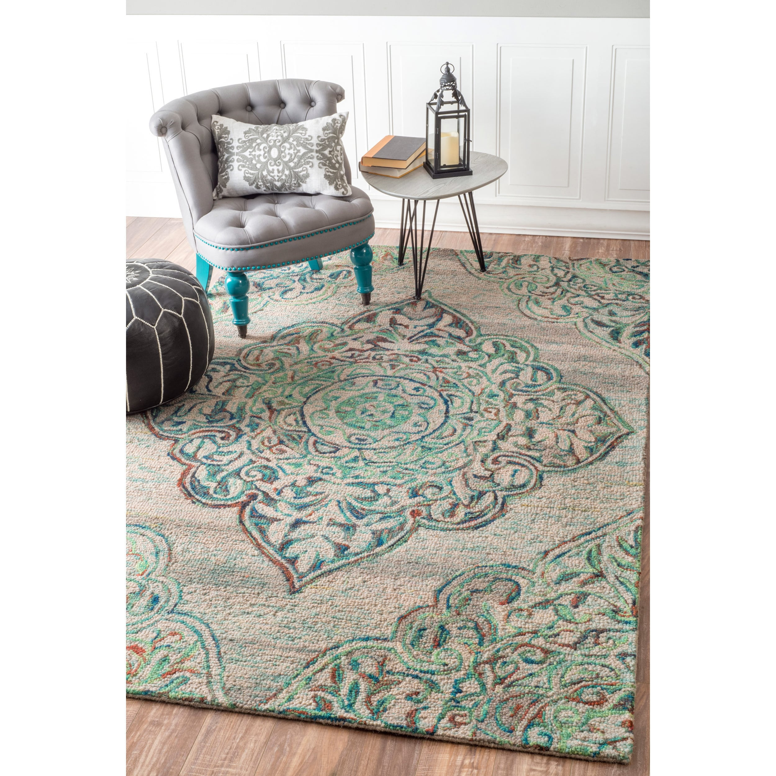 Shop Nuloom Handmade Country Floral Medallion Green Rug 5 X 8