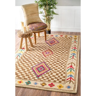 nuLOOM Handmade Country Checkered Floral Multi Rug (7'6 x 9'6)