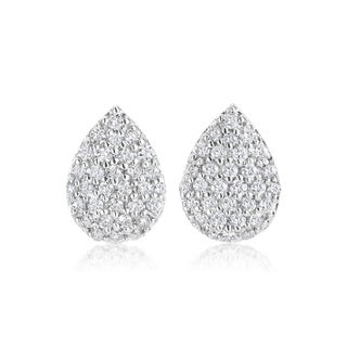 SummerRose 14k White Gold 1/2 TDW Diamond Pave Earrings