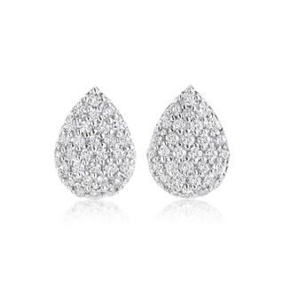 SummerRose 14k White Gold 1/2 TDW Diamond Pave Earrings (H-I, SI1-SI2)