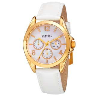 August Steiner Women's Quartz 24-Hour Indicator Multifunction Leather Gold-Tone Strap Watch