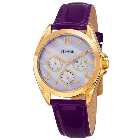 August Steiner Women's Quartz 24-Hour Indicator Multifunction Leather Purple Strap Watch