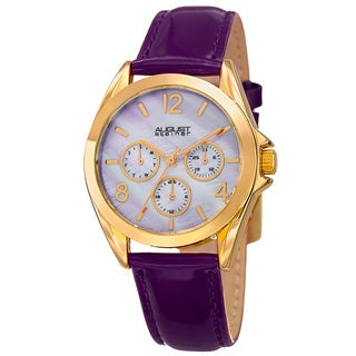 August Steiner Women's Quartz 24-Hour Indicator Multifunction Leather Purple Strap Watch