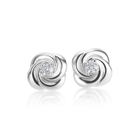SummerRose 14k White Gold Diamond Accent Rose Bud Stud Earrings - White H-I