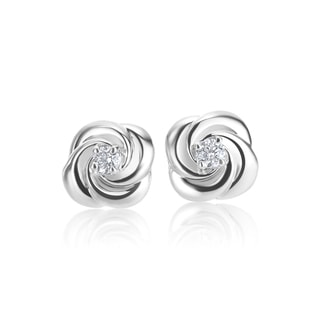 SummerRose 14k White gold 0.07 TDW Rose Bud Stud Earrings ( H-I, SI1-SI2)