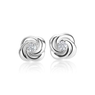 SummerRose 14k White gold 0.07 TDW Rose Bud Stud Earrings