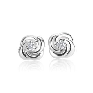 SummerRose 14k White Gold Diamond Accent Rose Bud Stud Earrings