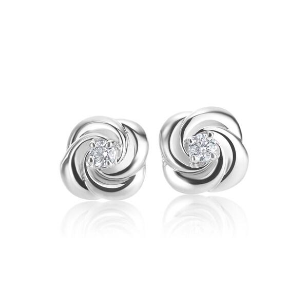 Summerrose 14k White Gold Diamond Accent Rose Bud Stud Earrings H I