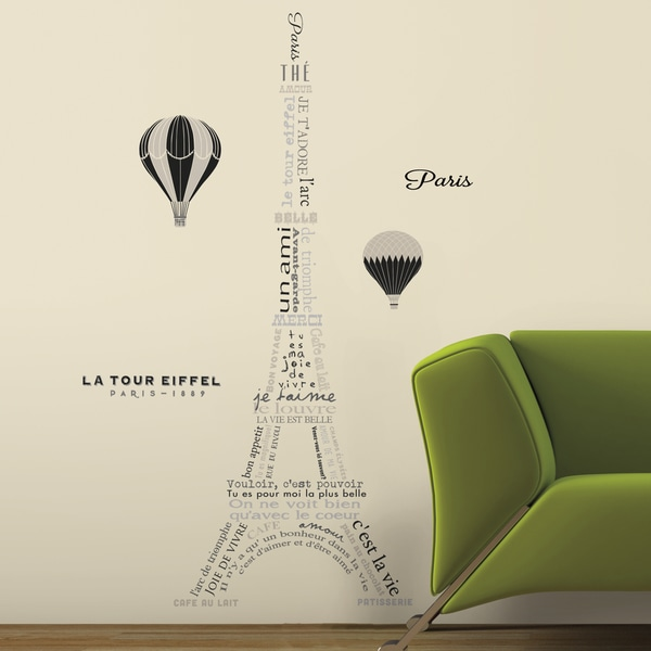 Roommates Eiffel Tower Neutral L And Stick Giant Wall Decals