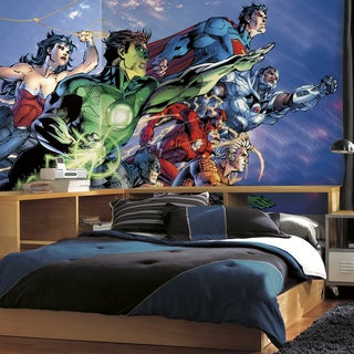 Roommates Justice League XL Chair Rail Prepasted Mural 6-foot x 10.5-foot Ultra-strippable