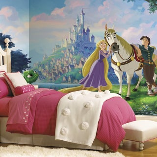 Disney Princess Tangled XL Chair Rail Prepasted Mural 6-foot x 10.5-foot Ultra-strippable