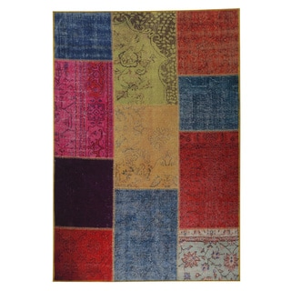 M.A.Trading Indian Hand-printed Konya Multicolor Vintage Print Rug (2'x3')