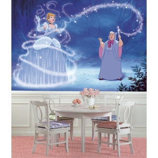 Roommates Cinderella Magic XL Chair Rail Prepasted Mural 6-foot x 10.5-foot Ultra-strippable