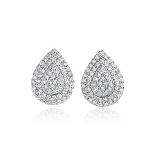 SummerRose 14k White Gold 3/4ct TDW Diamond Pear Shaped Earrings