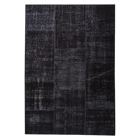 Handmade Printed Konya Charcoal Vintage Print Rug (India)
