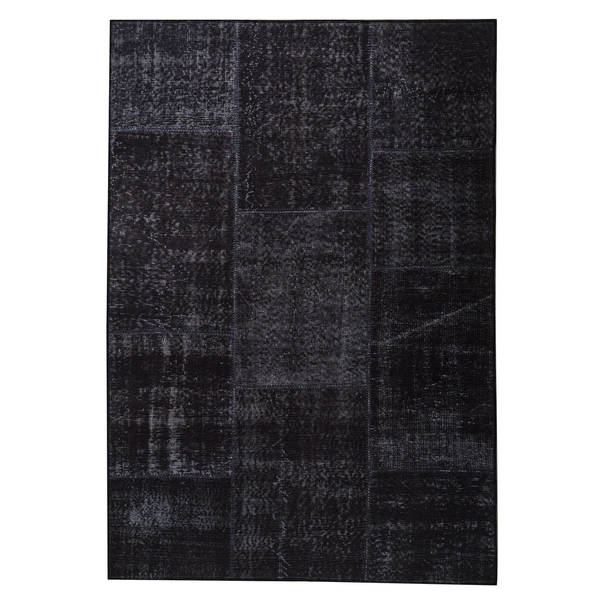 Handmade Printed Konya Charcoal Vintage Print Rug (India). Opens flyout.