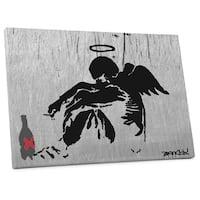 """Banksy """"Drunken Angel Steel Version"""" Gallery Wrapped Canvas Wall Art"""