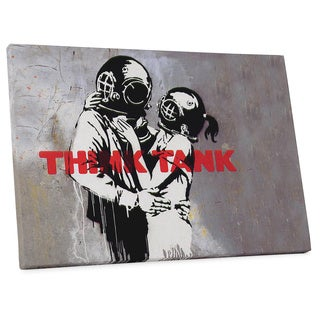"""Banksy """"Think Tank"""" Gallery Wrapped Canvas Wall Art"""
