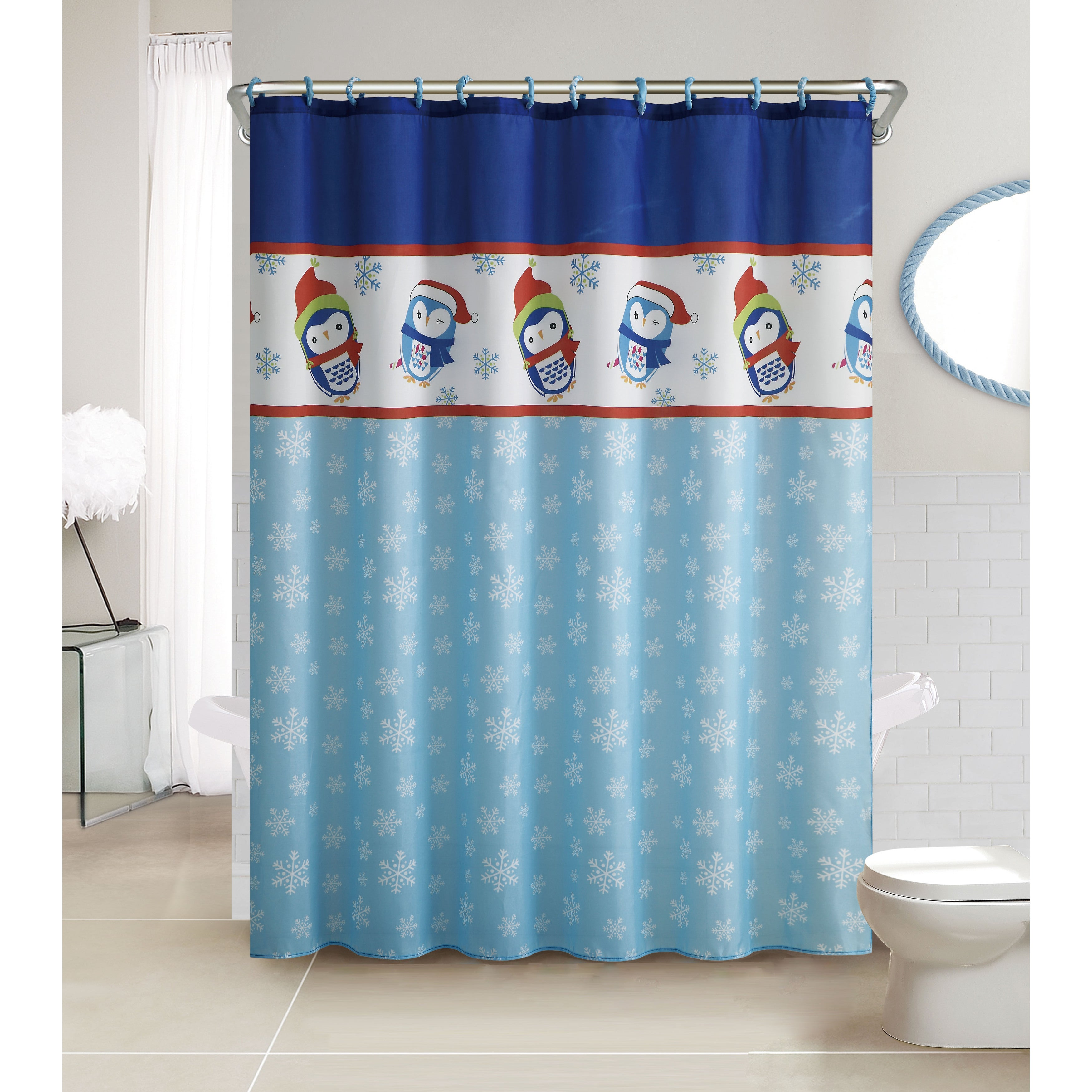 Vcny Penguin 13-Piece Christmas Themed Holiday Shower Cur...