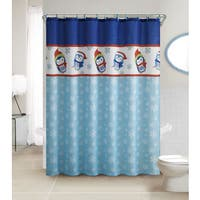 VCNY Penguin 13-Piece Christmas Themed Holiday Shower Curtain and Hook Set