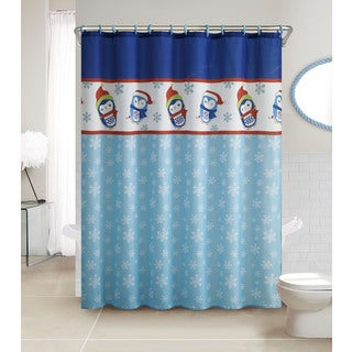VCNY Penguin 13 Piece Christmas Themed Holiday Shower Curtain And Hook Set