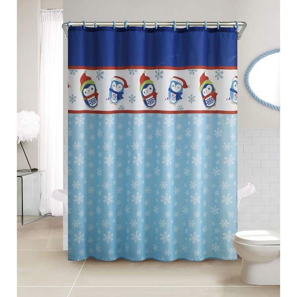Vcny Penguin 13 Piece Christmas Themed Holiday Shower Curtain And Hook Set Free Shipping On