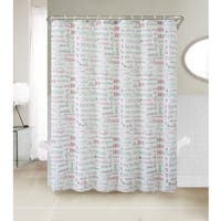 VCNY Holiday Collage 13-Piece Christmas Themed Holiday Shower Curtain and Hook Set
