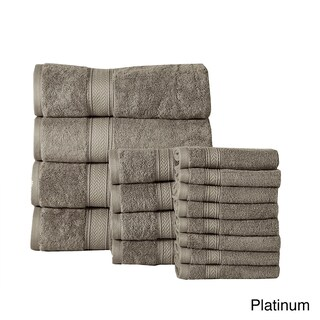 Luxurious Soft Cotton 16-piece 600 GSM Luxury Towel Set (Option: Platinum)
