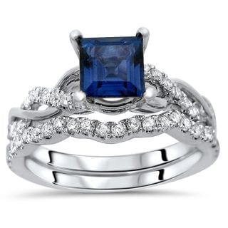 Noori 14k Gold Princess-cut Sapphire 2/5ct TDW Diamond Infinity Style Ring Set (F-G, SI1-SI2)