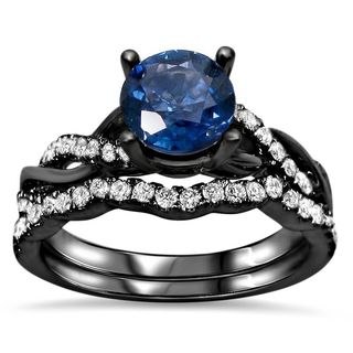 Noori 14k Black Gold Round-cut Sapphire 2/5ct TDW Diamond Infinity Style Ring Set (F-G, SI1-SI2) - Blue