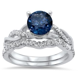 Noori 14k White Gold Round-cut Sapphire 2/5ct TDW Diamond Infinity Style Ring Set (F-G, SI1-SI2)