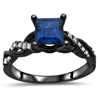 Noori 14kBlack Rhodium Gold Princess-cut Sapphire 1/5ct TDW Diamond Infinity Ring (F-G, SI1-SI2) - Blue