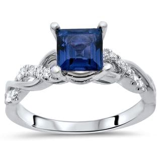 Noori 14k White Gold Princess-cut Sapphire 1/5ct TDW Diamond Infinity Ring (F-G, SI1-SI2)