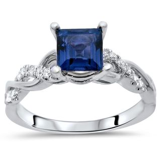 Noori 14k White Gold Princess-cut Sapphire 1/5ct TDW Diamond Infinity Ring (F-G, SI1-SI2)