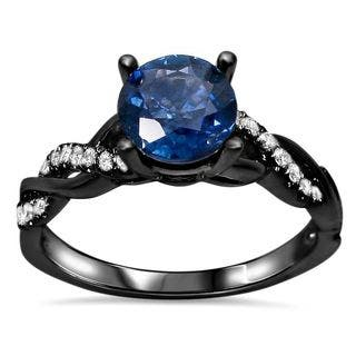 noori 14kblack rhodium gold round cut sapphire 15ct tdw diamond infinity style ring - Black And Blue Wedding Rings