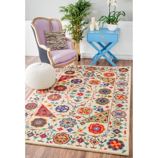 nuLOOM Handmade Country Floral Border Multi Rug (7'6 x 9'6)