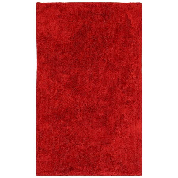 "Plush Pile Red 30""x50"" Bath Rug"