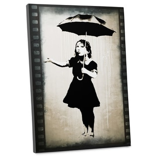 """Banksy """"Girl with Umbrella"""" Gallery Wrapped Canvas Wall Art"""