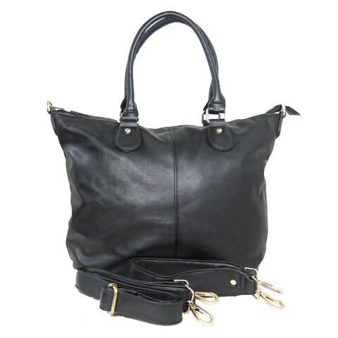 Color Block Tote Leather Handbag