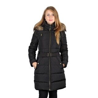 Michael Kors Black Down Belted 3/4 Puffer Coat