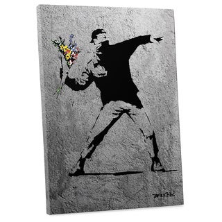 "Banksy ""Flower Thrower Full Size Version"" Gallery Wrapped Canvas Wall Art"