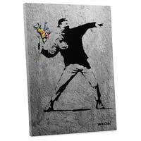 """Banksy """"Flower Thrower Full Size Version"""" Gallery Wrapped Canvas Wall Art"""