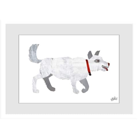 Marmont Hill - Handmade White Dog Painting on Framed Print