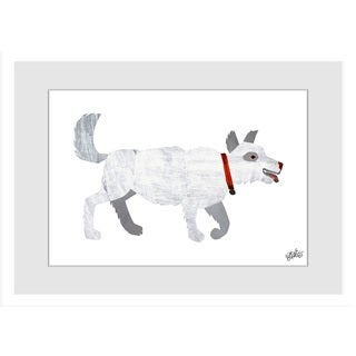 Marmont Hill - White Dog by Eric Carle Painting on Framed Print