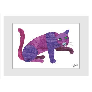 Marmont Hill - Purple Cat by Eric Carle Painting on Framed Print