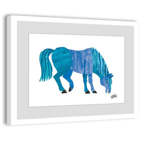 Marmont Hill - Handmade Blue Horse Painting on Framed Print