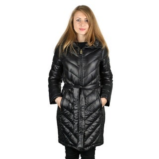 Michael Michael Kos Woman's Black Down Belted Packable Coat