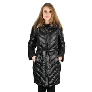 Michael Michael Kos Woman's Black Down Belted Packable Coat